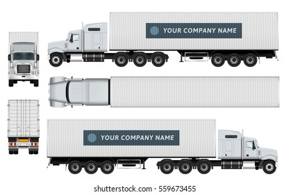Cargo container truck template on white background. Vehicle branding mock up. The ability to easily change the color. All elements in the groups on separate layers. View from side, back, front, top.