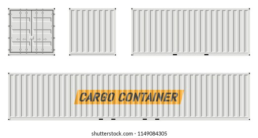 Cargo container vector mockup on white background with side, front, back view. All elements in the groups on separate layers for easy editing and recolor