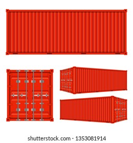 Cargo containers from different views isolated on white background