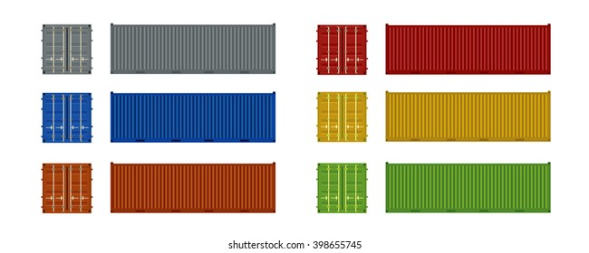 Cargo containers front and side view set of different colors, vector eps10 illustration