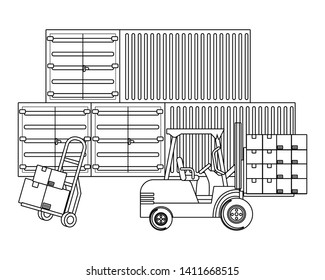 cargo containers with pushcart in black and white