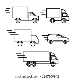 cargo delivery by truck, line, icon, set