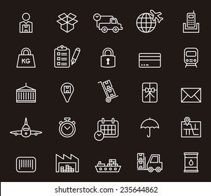 Cargo, Delivery, Freight Shipping & Transport icon set