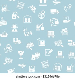 Cargo delivery, seamless pattern, blue, vector. Transportation and delivery of goods. White flat icons on gray-blue background. Vector flat seamless pattern.