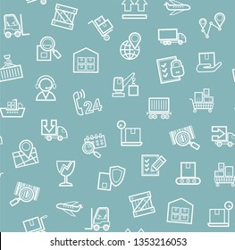 Cargo delivery, seamless pattern, blue, monochrome, contour lines, icons, vector. Cargo transportation and delivery of goods. White line icons on blue background. Vector flat seamless pattern.