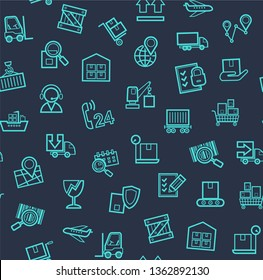 Cargo delivery, seamless pattern, blue, color, contour lines, icons, vector. Cargo transportation and delivery of goods. Blue line icons on a dark blue background. Vector flat seamless pattern.