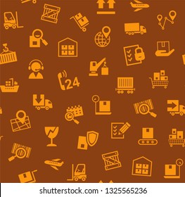 Cargo delivery, seamless pattern, brown, color, vector. Cargo transportation and delivery of goods. Orange icons on brown background. Vector flat seamless pattern.