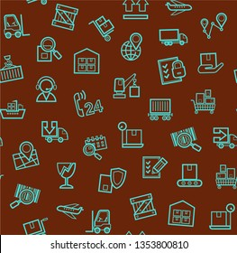 Cargo delivery, seamless pattern, brown, color, contour lines, icons, vector. Cargo transportation and delivery of goods. Linear blue icons on a brown background. Vector flat seamless pattern.