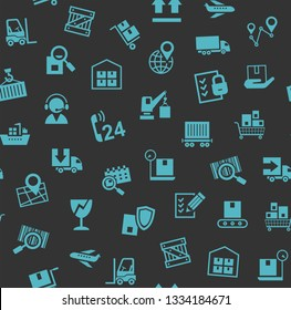 Cargo delivery, seamless pattern, color, gray, blue icons, vector. Cargo transportation and delivery of goods. Blue icons on a dark gray background. Vector flat seamless pattern.