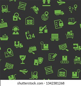 Cargo delivery, seamless pattern, color, gray, green icons, vector. Cargo transportation and delivery of goods. Green icons on a dark gray background. Vector flat seamless pattern.