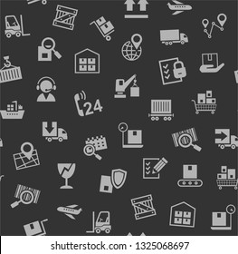 Cargo delivery, seamless pattern, dark gray, color, vector. Cargo transportation and delivery of goods. Gray icons on a dark gray background. Vector flat seamless pattern.
