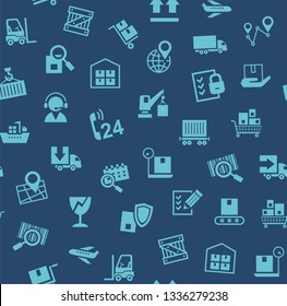 Cargo delivery, seamless pattern, dark blue, color, vector. Cargo transportation and delivery of goods. Blue icons on a dark blue background. Vector flat seamless pattern.