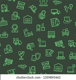 Cargo delivery, seamless pattern, dark, color, contour lines, icons, vector. Cargo transportation and delivery of goods. Green line icons on a dark background. Vector flat seamless pattern.