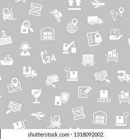 Cargo delivery, seamless pattern, gray, vector. Transportation and delivery of goods. White flat icons on grey background. Vector flat seamless pattern.