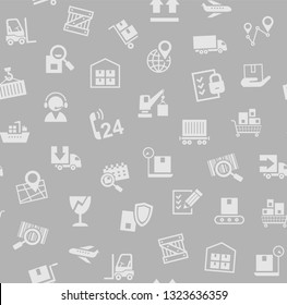Cargo delivery, seamless pattern, gray, color, vector. Cargo transportation and delivery of goods. Flat icons on grey background. Vector flat seamless pattern.