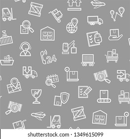Cargo delivery, seamless pattern, gray, monochrome, contour lines, icons, vector. Cargo transportation and delivery of goods. White line icons on a gray background. Vector flat seamless pattern.