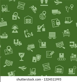 Cargo delivery, seamless pattern, green, color, vector. Cargo transportation and delivery of goods. Green icons on green background. Vector flat seamless pattern.