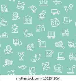 Cargo delivery, seamless pattern, green, monochrome, contour lines, icons, vector. Cargo transportation and delivery of goods. White line icons on green background. Vector flat seamless pattern.