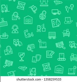 Cargo delivery, seamless pattern, green, color, contour lines, icons, vector. Cargo transportation and delivery of goods. Green line icons on green background. Vector flat seamless pattern