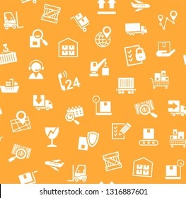 Cargo delivery, seamless pattern, orange, vector. Transportation and delivery of goods. White flat icons on orange background. Vector flat seamless pattern.