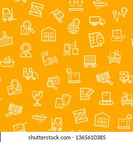 Cargo delivery, seamless pattern, orange, color, contour lines, icons, vector. Cargo transportation and delivery of goods. Yellow line icons on orange background. Vector flat seamless pattern.