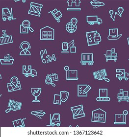 Cargo delivery, seamless pattern, purple, color, contour lines, icons, vector. Cargo transportation and delivery of goods. Linear blue icons on a purple background. Vector flat seamless pattern.