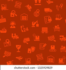 Cargo delivery, seamless pattern, red, color, vector. Cargo transportation and delivery of goods. Red icons on a dark red background. Vector flat seamless pattern.
