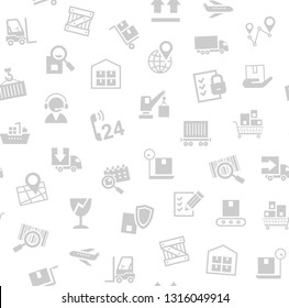 Cargo delivery, seamless pattern, white, vector. Transportation and delivery of goods. Gray flat icons on white background. Vector flat seamless pattern.