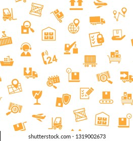 Cargo delivery, seamless pattern, white, orange, vector. Transportation and delivery of goods. Orange flat icons on white background. Vector flat seamless pattern.