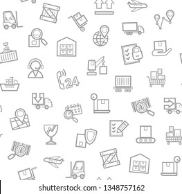 Cargo delivery, seamless pattern, white, monochrome, contour lines, icons, vector. Cargo transportation and delivery of goods. Gray line icons on white background. Vector flat seamless pattern.