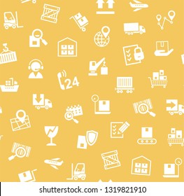 Cargo delivery, seamless pattern, yellow, vector. Transportation and delivery of goods. White flat icons on yellow background. Vector flat seamless pattern.
