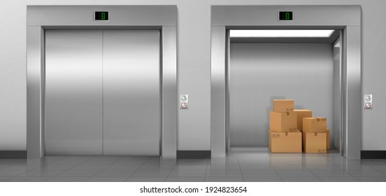 Cargo elevators with closed and open doors in hallway. Vector realistic empty modern interior with lifts, cardboard boxes in cabin, metal panel with buttons and floor display on wall