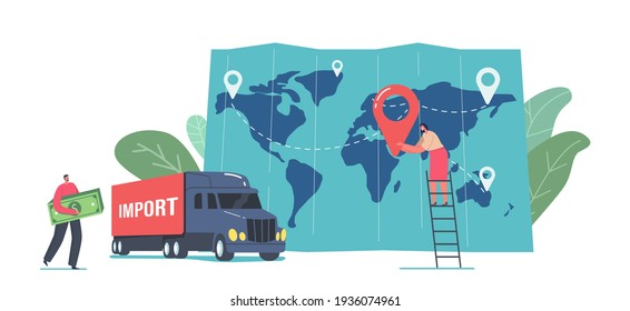 Cargo Export and Import, Logistics Concept. Tiny Business Man Character Carry Huge Money Bills near Freight Truck and Huge Map with Woman Put Destination Point. Cartoon People Vector Illustration