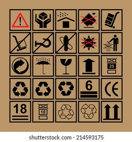 Cargo handling icons used beside the boxes and packaging