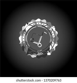 cargo icon inside grey camouflaged emblem