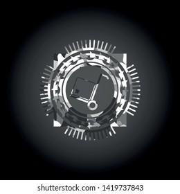 cargo icon on grey camo pattern