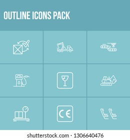 Cargo icon set and crane truck with conveyor, fragile sign and ce marking. Parcel related cargo icon vector for web UI logo design.