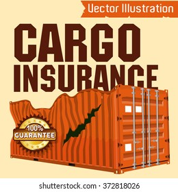 Cargo insurance -vector illustration.Trucking. Marine vector containers. Isolated sea containers on a light background.