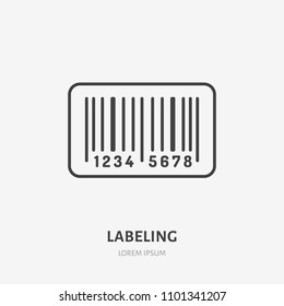Cargo labeling flat line icon. Barcode tag sign. Thin linear logo for retail services.