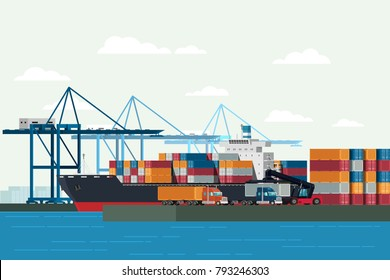 Cargo logistics truck and transportation container ship with working crane import export transport industry in shipping yard. illustration vector