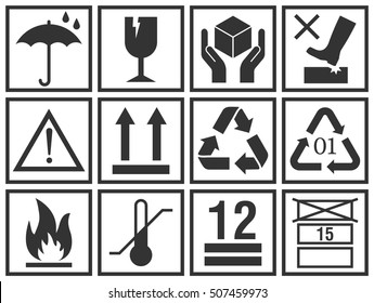 Cargo packing symbols set:  keep dry, fragile, handle with care, this side up, flammable, recycle and caution signs. Handling and packing warning icons vector collection.