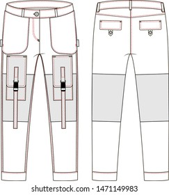 Cargo pants uniform vector white background - Vector graphic. Work clothes. Technical sketch.