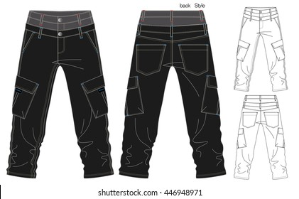 Cargo Pants Vector Template