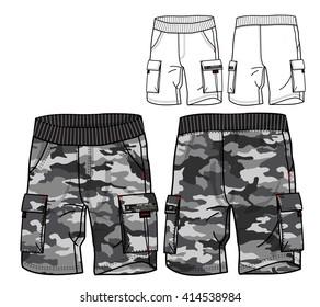Cargo Pants Vector Template(Camo print)