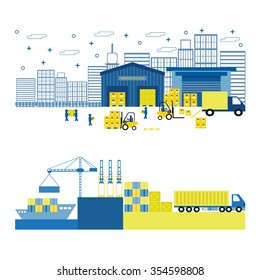 Cargo port equipment. Shipping. Flat vector illustration