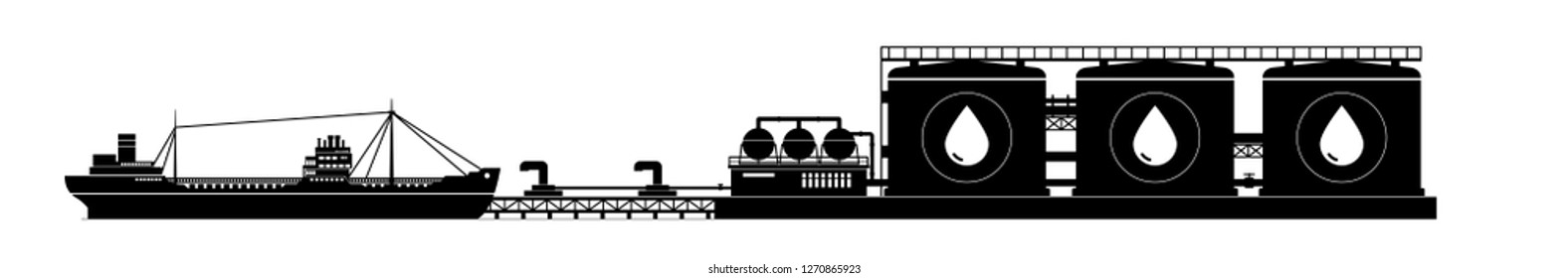 Cargo Sea Port, Unloading Oil from the Tanker ,Tanker at Berth in the Port , Sea Freight Transportation, Logistic, Vector Illustration