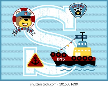 cargo ship cartoon vector with funny sailor on rope background. Learn to alphabet