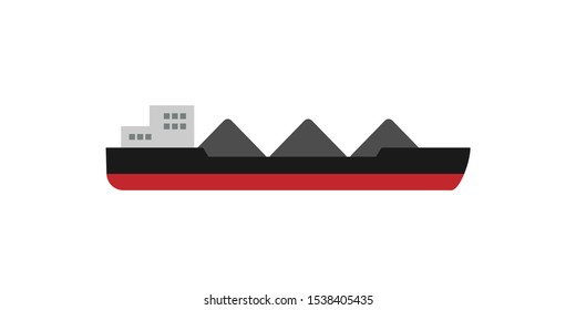 cargo ship with coal icon. Clipart image isolated on white background