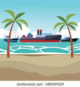 Cargo ship with container boxes steam pipes painted black and red fisher boat and yatch palm trees background vector illustration graphic design