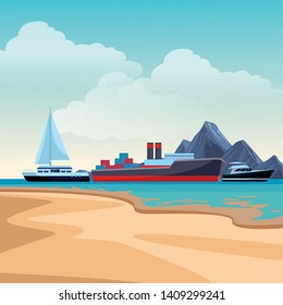 Cargo ship with container boxes steam pipes painted black and red sailboat and yatch beach shore background vector illustration graphic design